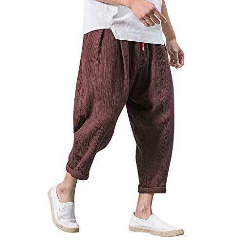 nuovo arrivo 8cd75 0ca93 ┃BYEEEt┃ Pantaloni di Lino Uomo Baggy Casual Stile retrò Pantalone  Pinocchietti con Tasconi