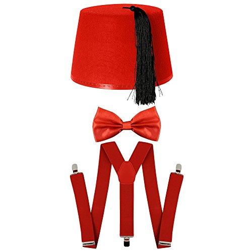 Set mit Rotem Fes, Hosenträgern, Fliege, Kostüm-Zubehör-Set im Stil von