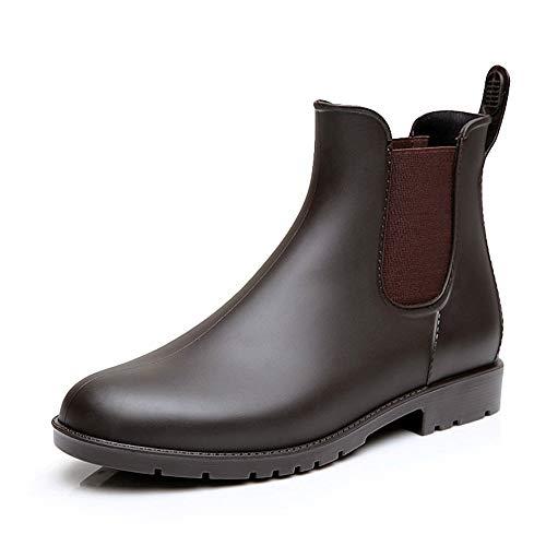 NEOKER Chelsea Gummistiefel Damen Herren Kurz Stiefeletten Regenstiefel Gartenarbeit Blockabsatz Wellington Boots Braun 43 Wellington Boot