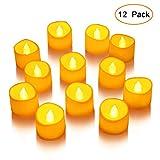 LED Kerzen, Lunsy 12 LED Flammenlose Tee Kerze, Magicpro Batterie Farblose LED Kleine Kerze Weihnachten Teelichter 12/24 STÜCKE (12PCS)
