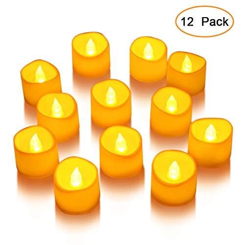 LED Kerzen, Lunsy 12 LED Flammenlose Tee Kerze,Farblose LED Kleine Kerze Weihnachten Teelichter für Weihnachten, Weihnachtsbaum, Ostern, Hochzeit, Party [Batterien enthalten] (Flammenlose Led Tee Lichter)