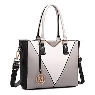 Miss Lulu Leather Look V-Shape Shoulder Handbag Elegant Design Top Handle Fashion Handbags for Women
