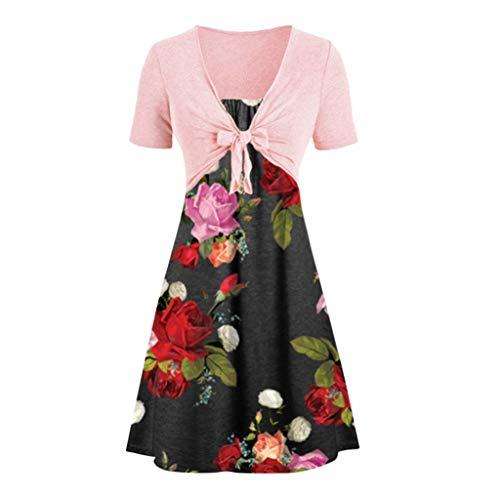 Sommerkleid Damen Elegant Einfarbig Spitze + Schal + Schlinge Print Kleid Gesetzt Swing Kleid Damenmode Abendkleid Strandkleid Damen Sexy Partykleid Cocktailkleid Kurz -