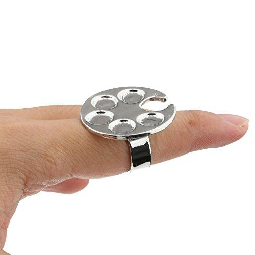 amyjazz Runde Form Mini Finger Nail Art Mischpalette für freie Hand Manicure Nail Ring