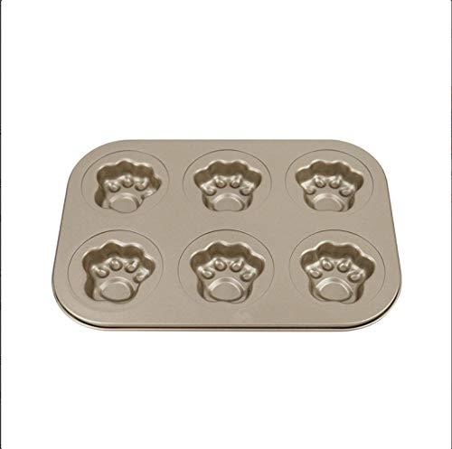 Grenzüberschreitende Backform Goldene Antihaft-Klauenform 6 Sogar Katzen-Klauen-Kuchenform aus Kohlenstoffstahl