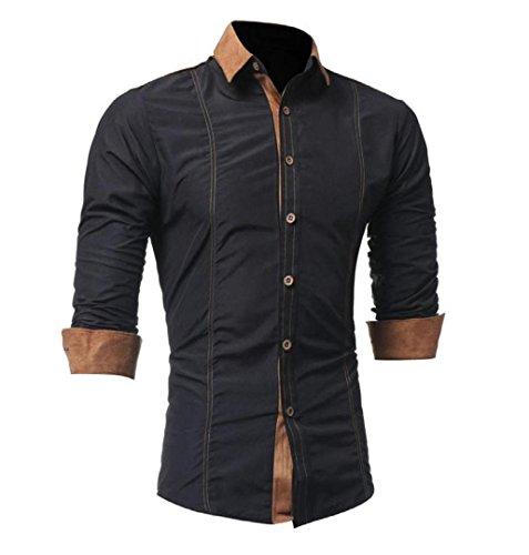 ZEZKT-Herren Herren Hemd mit Kontrasten Freizeit Slim Fit Langarm Shirts Business Bügelleicht (M, Schwarz)