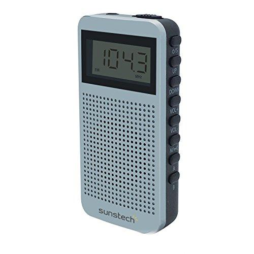 Sunstech RPDS12 - Radio portátil digital AM / FM con altavoz integrado y función sleep, color plata