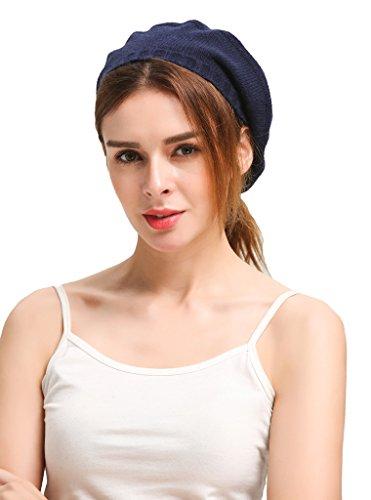 Miuk femmes 100%  pur cachemire Béret Bonnet en tricot Bleu - Bleu marine