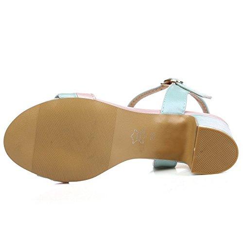TAOFFEN Damen Mode-Event Knochelriemchen Sandalen Blockabsatz Schuhe Blau