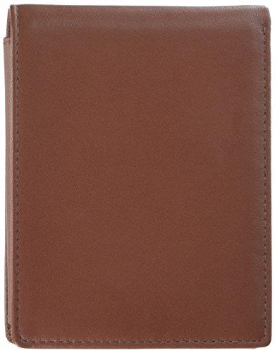 Budd Leder Rindsleder Leder Slim Brieftasche mit Passcase, Braun (550019–2) (Braun Wallet Passcase)