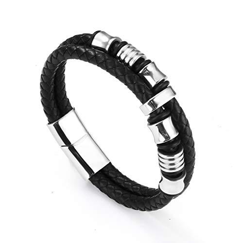 Echtlederarmband für Männer in schwarz & braun - markant und maskulin - Armband aus Leder für Herren mit Magnetverschluss (schwarz - stahl)