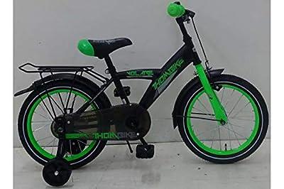 Kinderfahrrad Jungen Thombike 16 Zoll mit Vorradbremse am Lenker und Rücktrittbremse, Stützräder Schwarz Grün 95% Zusammengebaut