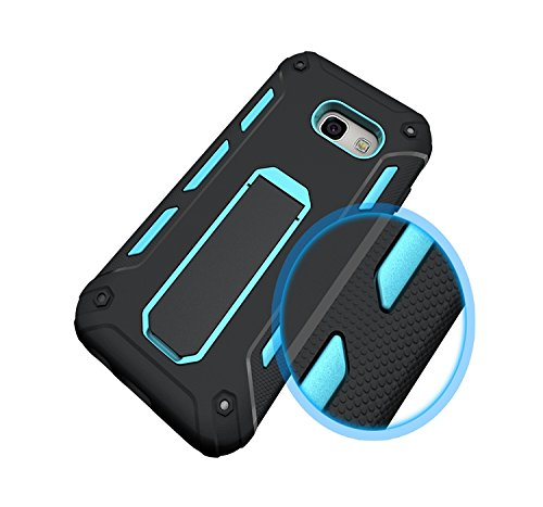 YHUISEN Galaxy A3 2017 Case, Cool Shockproof Rüstung Hybrid 2 In1 TPU und PC Rugged Dual Layer mit Kickstand Fall für Samsung Galaxy A3 2017 A320 ( Color : White ) Blue