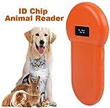Wandisy Lector Chip Animales,Lector de identificación de Animales, 134.2Khz LCD ISO ID Chip Lector de Animales RFID Perro Microchip Escáner de Mano para Mascotas, USB Recargable