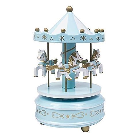 Bois Carrousel 4 Cheval Manège à remontoir Mécanique Boîte À Musique - Bleu