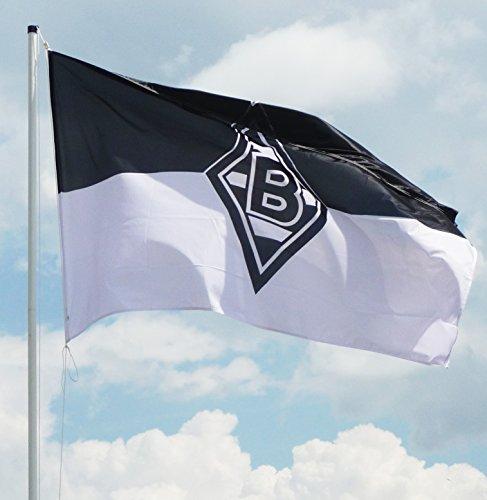 VFL Borussia Mönchengladbach Herren Borussia Mönchengladbach-Fohlenelf-Artikel-Hissfahne Nostalgie Flagge, Mehrfarbig, 250 x 150 cm