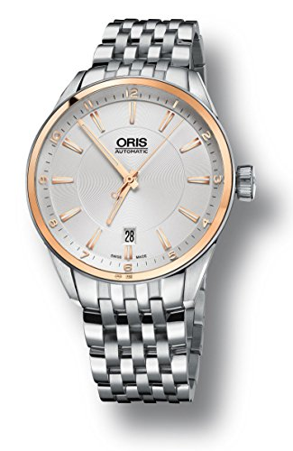 Oris Artix Date Automatic Stainless Steel & 18kt Gold Mens Watch Silver Dial Date 733-7713-6331-MB