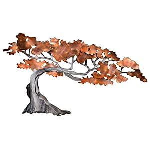Extravagante KunstLoft® Metall Wandskulptur 'Rejuvenated' 61x110x6cm | Design Wanddeko XXL handgefertigt | Luxus Metallbild Wandrelief | Silber Braun Baum Herbst | Wandbild modern