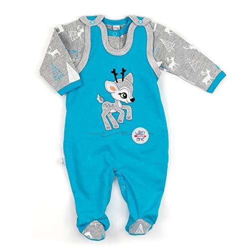Baby Set Strampler + Shirt blau grau   Motiv: Reh   Marke: Koala Baby   Babyset 2 Teile mit Rehkitz für Neugeborene & Kleinkinder   Größe: