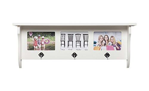 Country Wandgarderobe mit 3 Kleiderhaken und 3 Rahmen für Ihre persönlichen Bilder, weiss, BxHxT 62x23,5x11