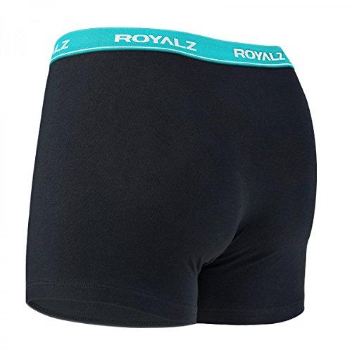 ROYALZ Unterhosen Herren Boxershorts 5er Set klassisch Nahtlos für Sport und Freizeit, 5er Pack (95% Baumwolle / 5% Elasthan) Schwarz / Bund - Blau