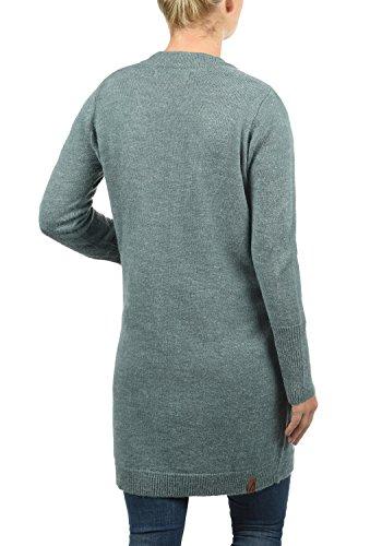BLEND SHE Neli Damen Strickjacke Feinstrick Cardigan mit offenem V-Ausschnitt aus hochwertiger Materialqualität Meliert Goblin Blue (13222)