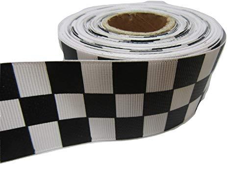 2 Meter x 38 mm schwarz-weißes Quadrat Band blockiert Rennstrecke Ziellinie 38mm -