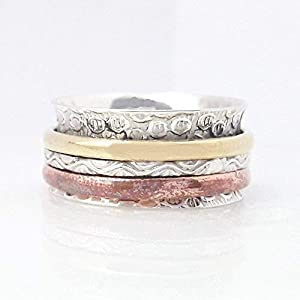 Spinner Ring, Sterling Silver Ring, Meditation Ring, Anti Anxiety Ring, Statement Ring, Worry Ring, Handmade Ring, Designer Ring, Textured Ring Spinner