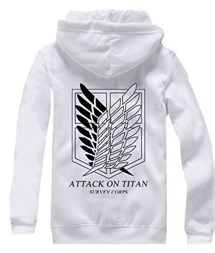 Cosstars Anime Shingeki no Kyojin Attack on Titan Hoodie Jacket Cosplay Kostüm Zipper Pullover Jacke Outwear Sweatshirt Mantel Weiß-3 M (Für Kostüme Kinder On Titan Attack)
