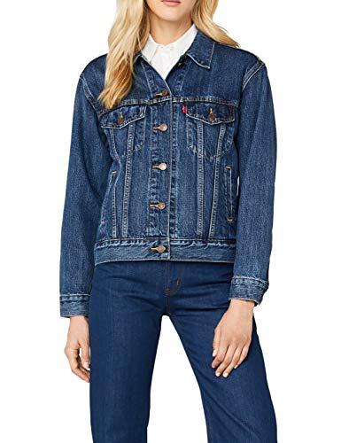 Levi's Damen Jeansjacke EX-Boyfriend Trucker, Blau/Stoop Culture 0022, Small (Levis Jeans-jacke Für Frauen)