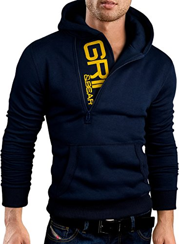 Grin&Bear slim fit Halfzip Jacke Kapuze Hoodie Sweatshirt Kapuzenpullover, navy, XL, GEC401 (Navy Pullover Hoody Blauer Sweatshirt)