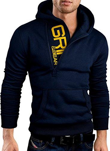 Tragen Navy Jumper (Grin&Bear Slim fit Halfzip Jacke Kapuze Hoodie Sweatshirt Kapuzenpullover, Navy, M, GEC401)
