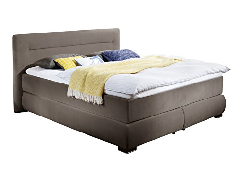 Atlantic Home Collection Boxspringbett, Stoff, Braun, 90 x 200 cm