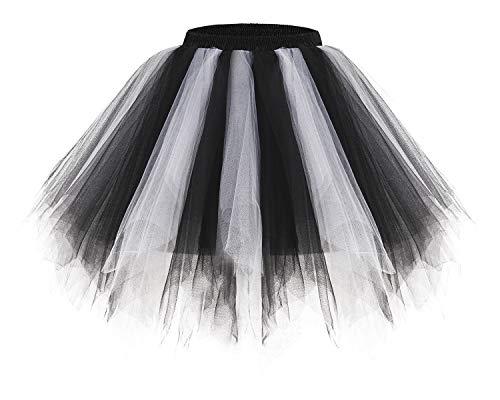 bridesmay Tutu Damenrock Tüllrock 50er Kurz Ballet Tanzkleid Unterkleid Cosplay Crinoline Petticoat für Rockabilly Kleid Black-White L