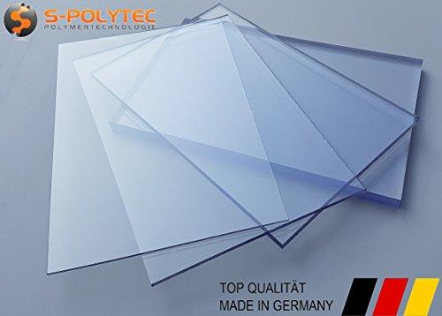 S-Polytec Polycarbonat PC Polycarbonat Platte, PC Zuschnitt TRANSPARENT, Stärke 3-15mm, VIELE VERSCHIEDENE FORMATE, beidseitiger UV-Schutz TOP QUALTÄT (100 x 49cm, 5mm UV-Schutz)