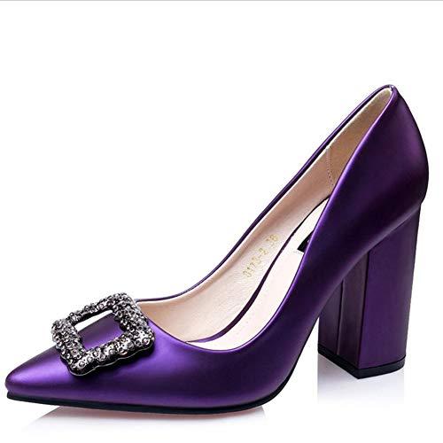 Pumps Schuhe Damen Pumps Mary Jane Halbschuhe Flacher Mund Quadratische Schnalle Strass Damenschuhe...