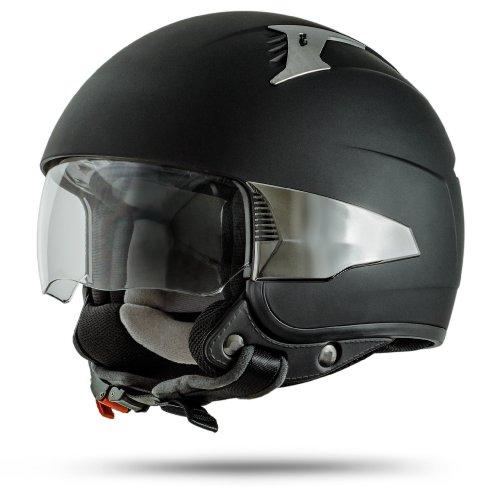 Ato Rimini pilota casco in Nero Opaco-Interno visiera-, ECE 2205-Taglia: