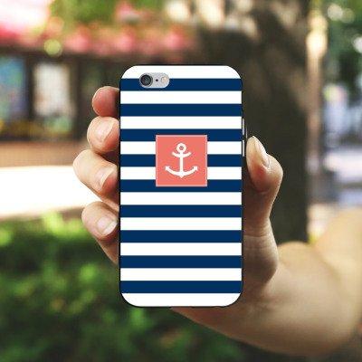 Apple iPhone 6s Hülle Case Handyhülle Anker Streifen Maritim Silikon Case schwarz / weiß