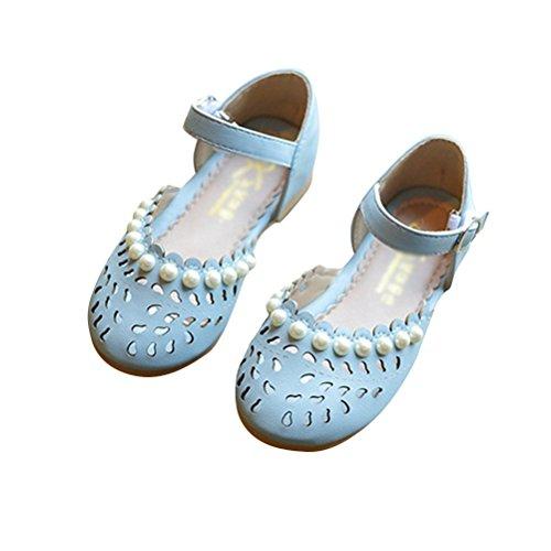 Brinny Sommer Kleinkind Mädchen hohl Strand Sandalen Prinzessin Ballerina elegante Perle flache Schuhe Blau