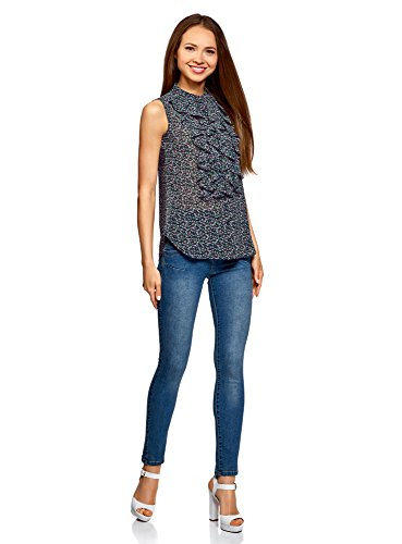 oodji Collection Donna Top in Tessuto Fluido con Volant Blu (7941F)