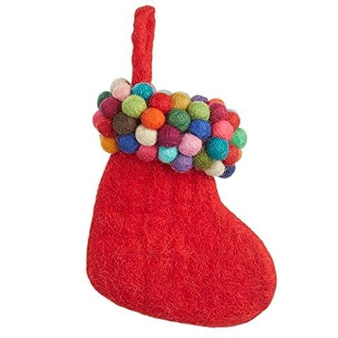 issu du commerce équitable en feutre coloré Gumball Bas Décoration de Noël, Feutre, Red