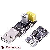 AZDelivery ESP8266 ESP-01 Module émetteur-récepteur série sans fil WLAN WiFi avec adaptateur USB pour Arduino y compris un eBook