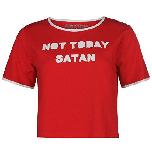 Jilted Generation Damen Slogan Crop Top Kurzarm Rundhals Bauchfrei Shirt Not Today Satan 12 (M) (Short Sleeve T-shirt Feuer)