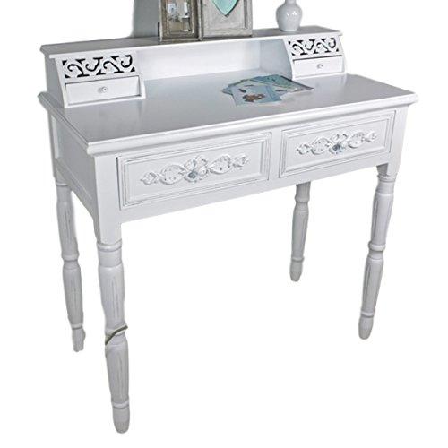 elbmöbel Sekretär in weiß aus Holz im Landhaus-Stil Schreibtisch Frisiertisch im Barockstil Rosali