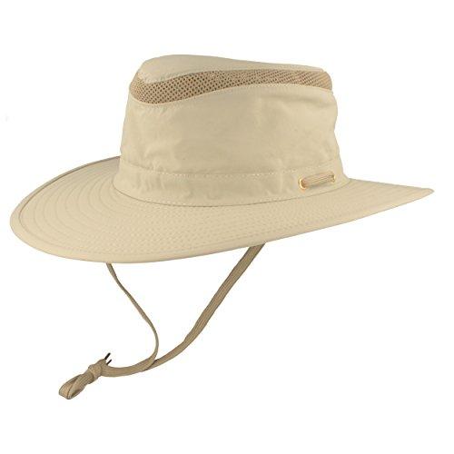Hut Breiter Safarihut | Buschhut | Sonnenhut - mit UV Schutz 30+ - Atmungsaktiv, leicht & faltbar, mit verstellbarem Kinnband & geheimer Tasche
