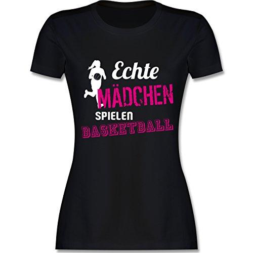 Basketball - Echte Mädchen Spielen Basketball - S - Schwarz - L191 - Damen T-Shirt Rundhals