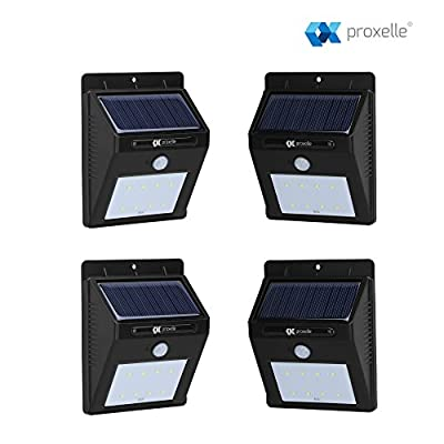 4-in-1 Solar-powered Outdoor Wall Light with PIR motion sensor - IP65 waterproof, heatproof, and durable - Gives light for 12 hours on a single charge! - inexpensive UK light store.