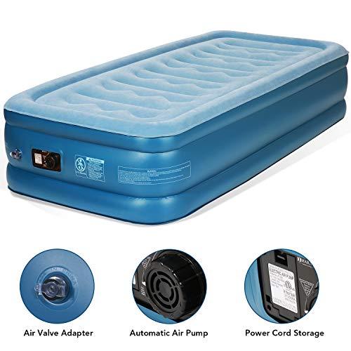 Luftbett Luftmatratze Airbed Einzelbett Twin Size-190x99x45cm -Gästebett mit eingebauter Elektrischer Luftpumpe Aufbewahrungstasche und Reparaturflicken