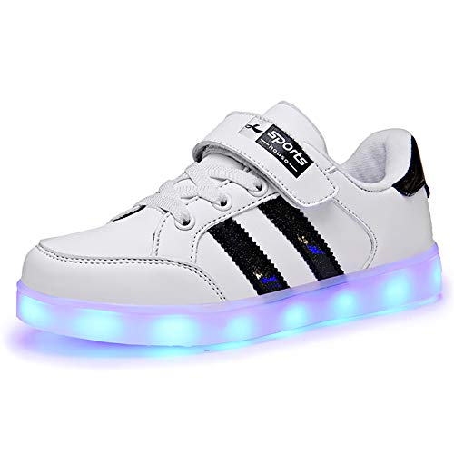Lovelysi Unisex Zapatos Zapatillas de LED 7 Colors USB Carga Luz Luminosas Flash Deporte para Deportivas...