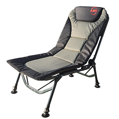 FoxHunter Portable Fishing Chair | XL Heavy Duty Camping Recliner Chair | Adjustable Legs | Ideal For Carp Fishing Equipment – Khaki Green